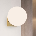 Sphere Wall Light Sconce Simplicity Matte White Glass 1/2-Light Golden Wall Mount Lamp