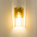 Tempered Glass Faceted Wall Sconce Modern Single Bulb Tan/Gray and Blue Wall Mounted Light