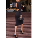 Classy Elegant Ladies' Long Sleeve Crew Neck Hollow Out Twisted Back Knit Plain Mid Banquet Bodycon Dress