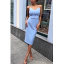 Blue Elegant Ladies' Sleeveless Button Detail Mid Dinner Bodycon Cami Dress
