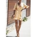 Orange Cute Girls' Bell Sleeve Surplice Neck Plaid Print Ruffled Trim Bow Tie Waist Mini Wrap A-Line Dress