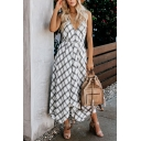 Pretty Beach Girls' Sleeveless Deep V-Neck Plaid Print Hollow Back Bow Tie Waist Maxi Flowy Dress in White