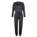 Womens Casual Solid Color Long Sleeve Top & Drawstring Waist Pants Loose Sports Set