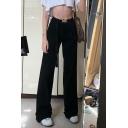 Street Edgy Girls' High Waist Plain Full Length Oversize Wide Leg Pants