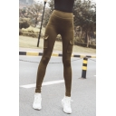 Simple Plain Mid Rise Utility Ankle Length Stretch Skinny Fit Leggings for Jogger Girls