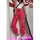 Plain Hip Hop Elastic Waist Drawstring Utility Cuff Long Oversize Carrot Trousers for Girls