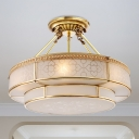 3 Bulbs Circle Ceiling Light Fixture Colonial Brass Satin Opal Glass Semi Flush Mount Lighting for Bedroom