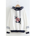 Girls Simple Boat Anchor Pattern Colorblock Stripe Printed Long Sleeve Loose Hoodie