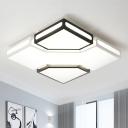 Modernity Square Box Flush Lamp Acrylic LED Black and White Ceiling Light Fixture in White/3 Color Light for Living Room