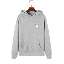 Lovely Rabbit Pattern Long Sleeve Kangaroo Pocket Slim Fit Pullover Hoodie