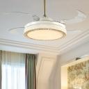 Modernist Circular Ceiling Fan Lamp Metal LED Living Room Semi Mount Lighting in White
