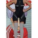 Black Sleeveless Mock Neck Zipper Front Letter KL ALIEN Contrasted Skinny Shorts Rompers for Female