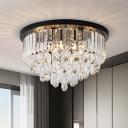 Modern Cylinder/Cone Crystal Flush Light Fixture 4 Lights Flush Mount Lamp in Black for Living Room