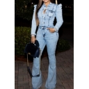 Stylish Ladies' Long Sleeve Mid Rise Button Down Contrast Piped Full Length Slim Fit Flared Denim Jumpsuit in Light Blue