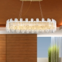 Linear Crystal Chandelier Lamp Modern 10 Bulbs LED Gold Pendant Ceiling Light for Dining Room