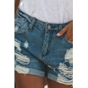 Cool Trendy Ladies' Mid Rise Distressed Rolled Cuffs Relaxed Fit Denim Shorts in Blue