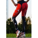 Yoga Women's Mid Rise Contrasted Mixed Patterned Stretchy Slim Fit Ankle Leggings in Red