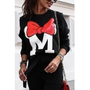 Girls Fall Popular Letter M Red Bow Pattern Long Sleeve Round Neck Casual Sweatshirt