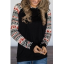 Womens Fashionable Christmas Elk Snowflake Patched Long Sleeve Slim Black Casual Pullover Hoodie