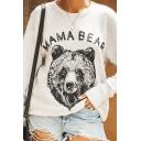 Ladies Popular MAMA BEAR Letter Printed White Long Sleeve Pullover Graphic Sweatshirt