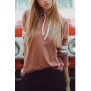 Womens Popular Simple Long Sleeve Oversized Red Varsity Striped Drawstring Hoodie