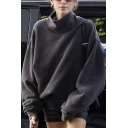 Womens Fashionable Solid Color High Collar Long Sleeve Black Loose Casual Pullover Sweatshirt