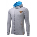 Mens Popular Contrast Elbow Patch Long Sleeve Zip Up Slim Fit Casual Hoodie with Pocket