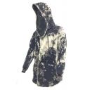 Mens Unique Tie Dye Long Sleeve Tied Front Hooded Cloak Coat Drawstring Hoodie with Pocket