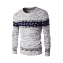 Mens New Stylish Colorblock Long Sleeve Slim Fit Casual Fair Isle Sweater Knitwear