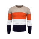 Warm Casual Color Blocked Long Sleeve V-Neck Knitted Pullover Sweater for Men