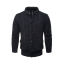 Mens Casual Warm Long Sleeve Button Closure Plain Chunky Knitted Cardigan Coat