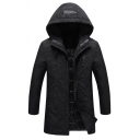 Mens Classic Black Plain Camo Printed Long Sleeve Zip Up Longline Hooded Parka Down Coat