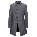 Mens Retro Herringbone Printed Plain Long Sleeve Single Breasted Tunic Woolen Overcoat with Pocket