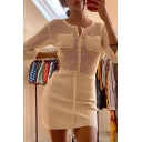 Womens Creative Sheer Net Panel Round Neck Long Sleeve Drawstring Waist Button Down Plain Mini Dress