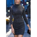 Womens Stylish Lace-Up Patched Long Sleeve Mock Neck Plain Black Bodycon Dress