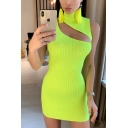 Womens Petite Cutout Slash Front High Collar Sleeveless Plain Mini Bodycon Dress