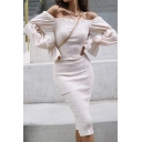 Females New Stylish Off the Shoulder Bell Long Sleeve Pleated Detail Plain Apricot Midi Fitted Dress for Evening Party