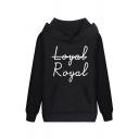 Unisex Popular Kpop Letter ROYAL Printed Long Sleeve Kangaroo Pocket Drawstring Hoodie