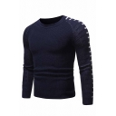 Mens New Fashion Colorblocked Stripe Printed Long Sleeve Chunky Knitted Fitted Pullover Sweater