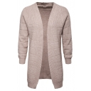 Mens Casual Solid Color Long Sleeve Open Front Cozy Knit Unbuttoned Cardigan Tunic Coat