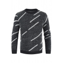 Mens Casual Straight Line Printed Long Sleeve Round Neck Fitted Dark Gray Pullover Sweater
