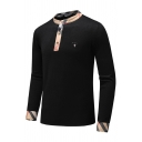 Plaid Trimmed Button Cuffs Long Sleeve Slim Fit Casual Pullover Henley Sweater Top