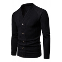 Mens Simple Plain V Neck Long Sleeve Button Front Casual Thin Ribbed Knit Cardigan