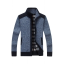 Mens Stylish High Collar Elbow Patch Plaid Lined Slim Fit Blue Casual Jacket Cardigan with Pocket