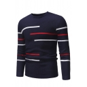 Mens Geometric Lines Printed Round Neck Long Sleeve Slim Fit Casual Waffle Knitted Sweater