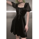Plain Black Lolita Fashion Puff Short Sleeve Square Neck Lace Up Front Midi A-Line Flowy Dress for Party