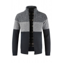 Mens Stylish Colorblock Stripes Print High Collar Long Sleeve Zip Up Casual Fitted Cardigan Coat Knitwear