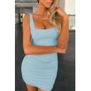 Womens Sexy Plain Square Neck Sleeveless Tied Back Mini Sheath Dress for Party