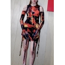 Cool Color Block Pattern Crew Neck Drawstring Ruched Hem Black and Orange Mini Party Dress