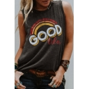 Gray Letter GOOD VIBES Rainbow Pattern Crew Neck Casual Relaxed Tank Top